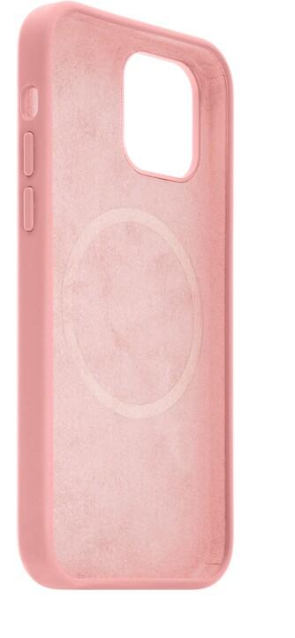 FIXED tvrzený silikonový kryt MagFlow pro iPhone 12/12 Pro, komaptibilní s MagSafe, růžová