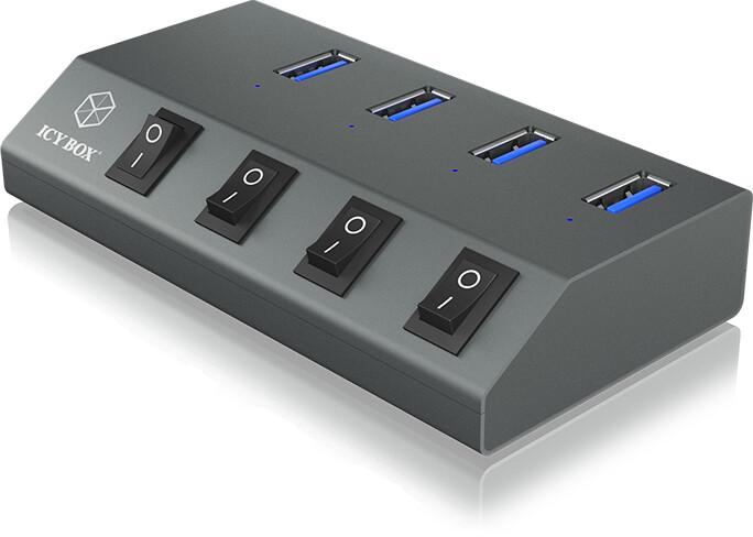 ICY BOX externí USB hub IB-HUB1405, 4x USB 3.0, stříbrná