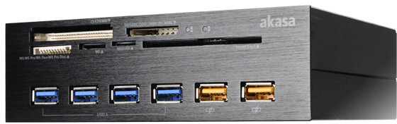 """Akasa AK-HC-07BK InterConnect EX, čtečka karet do 5,25"""" pozice, černá"""