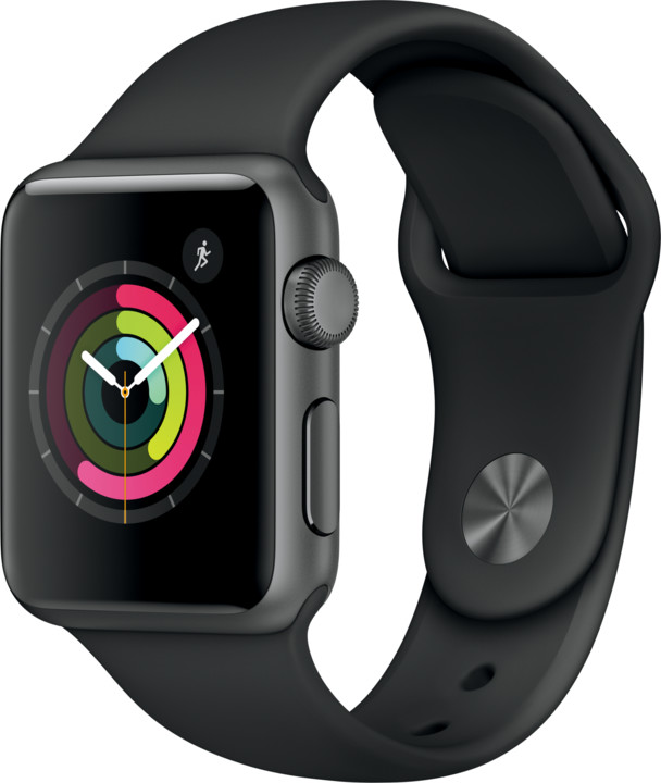 Apple Watch 38mm Space Grey Aluminium Case with Black Sport Band