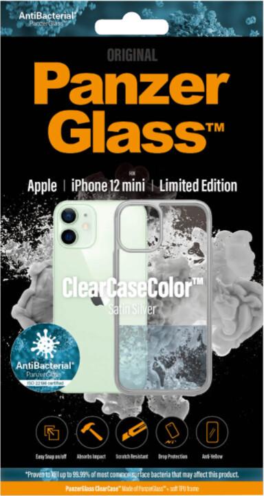 PanzerGlass ochranný kryt ClearCase pro iPhone 12 mini, antibakteriální, stříbrná