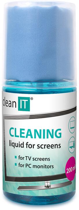 CLEAN IT čistící roztok na obrazovky s utěrkou, 200ml