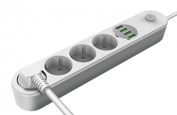 COLORWAY prodlužovací napájecí přívod/ 4x Schuko/ 4x USB 5V / kabel 2m