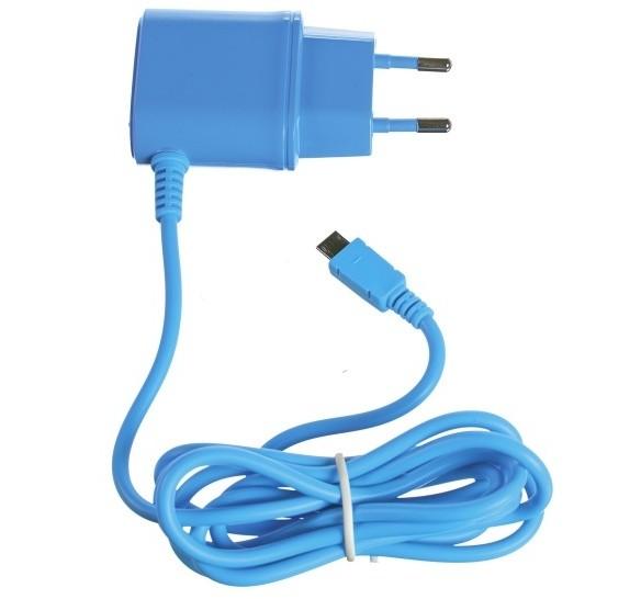 CELLY cestovní nabíječka microUSB, 1A, modrá