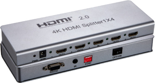 PremiumCord HDMI 2.0 splitter 1-4 porty, 4K x 2K/60Hz, FULL HD, 3D