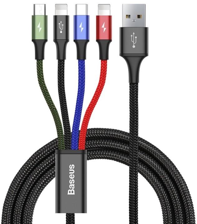Baseus kabel Fast 4-in-1 Lightning (2) + Type-C + Micro 3.5A 1.2M, černá