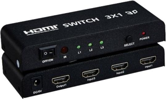 PremiumCord HDMI switch 3:1 kovový s dálkovým ovladačem a napájecím adaptérem