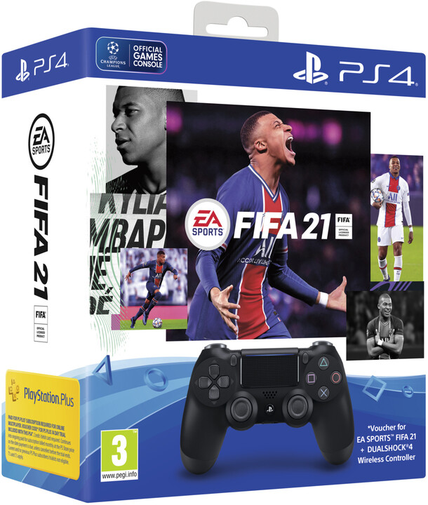 Sony PS4 DualShock 4 v2, černý + FIFA 21