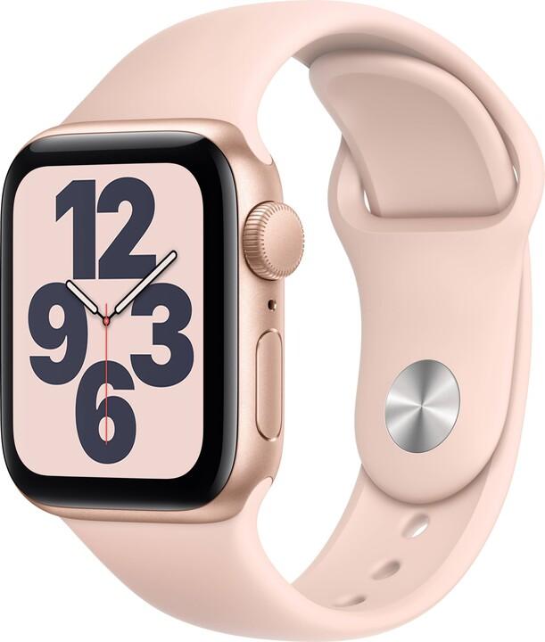 Apple Watch SE, 40mm, Gold Aluminium, Pink Sand Sport Band