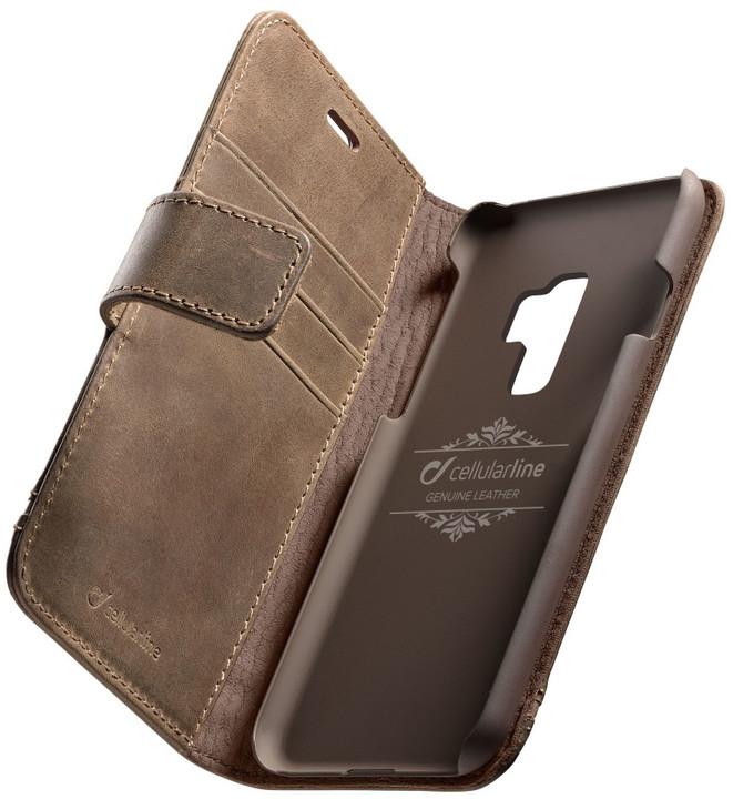 CellularLine prémiové kožené pouzdro typu kniha Supreme pro Samsung Galaxy S9 Plus, hnědé