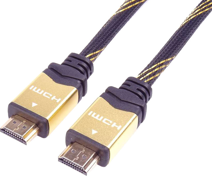 PremiumCord HDMI 2.0 High Speed + Ethernet kabel HQ, zlacené konektory, 3m
