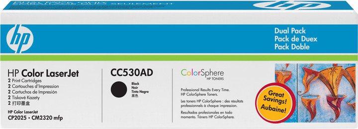 HP CC530AD, black, 2-pack