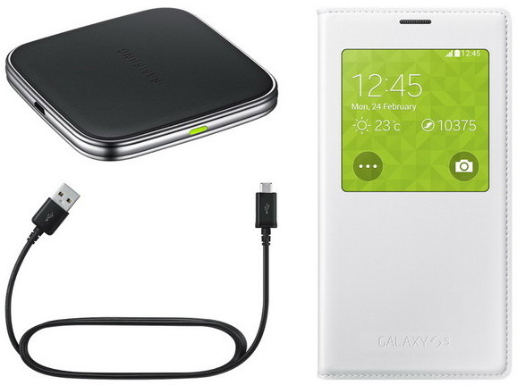 Samsung sada pro bezdrátové nabíjení EP-KG900I pro Galaxy S5 (SM-G900), bílá