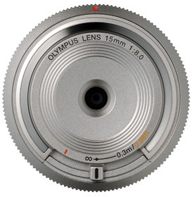 Olympus Body Cap Lens 15mm f/8, stříbrná