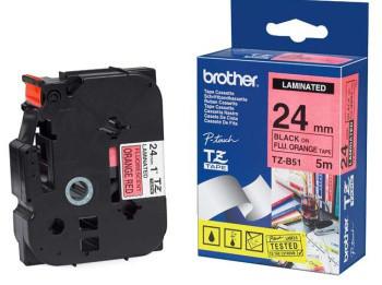 Brother páska - TZ-B51, signální oranžová / černá (24mm)