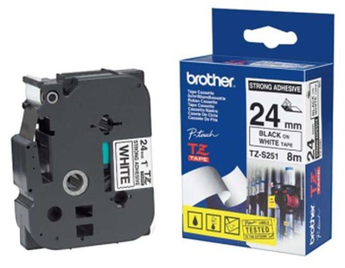 Brother TZE-S251, bílá/černá, 24mm