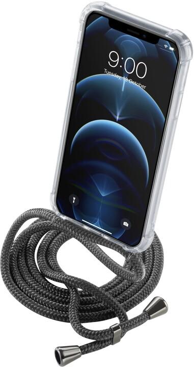 Cellularline zadní kryt s černou šňůrkou na krk pro Apple iPhone 12/12 Pro, transparentní