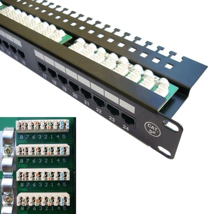 """DATACOM Patch panel, 19"""", UTP 24x port Cat.5e, 1U, s vyvázáním"""