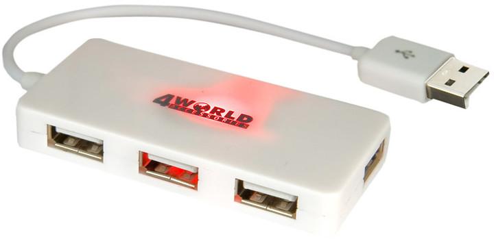 4World USB Hub, 4portový, pasivní, bílá