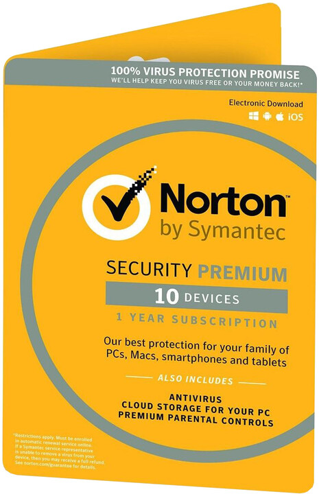 Symantec Norton Security Premium 3.0 - 25GB, CZ, 1 uživatel, 10 zařízení, 1 rok - el. licence