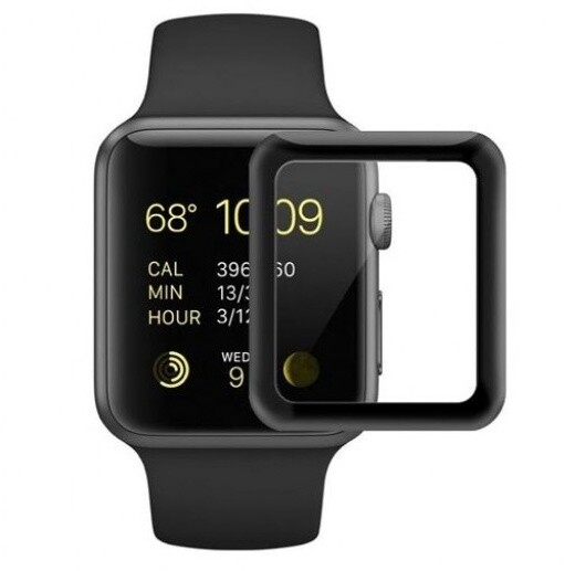 COTEetCI tvrzené sklo 4D Black-Rim pro Apple Watch, Full Glue, 42mm