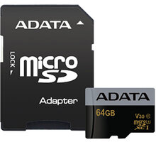 ADATA Micro SDXC Premier Pro 64GB 95MB/s UHS-I U3 + SD adaptér - AUSDX64GUI3V30G-RA1