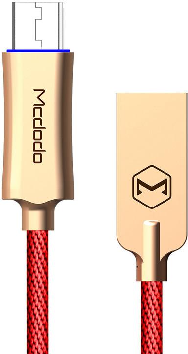 Mcdodo Knight rychlonabíjecí datový kabel microUSB s inteligentním vypnutím napájení, 1m, červená