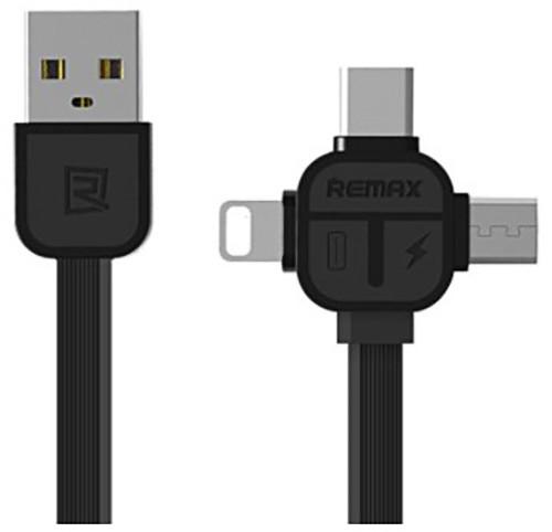 Remax RC-066th datový kabel 3v1 kompatibilní Micro/Lightning /Type-C , délka 1m, černá barva