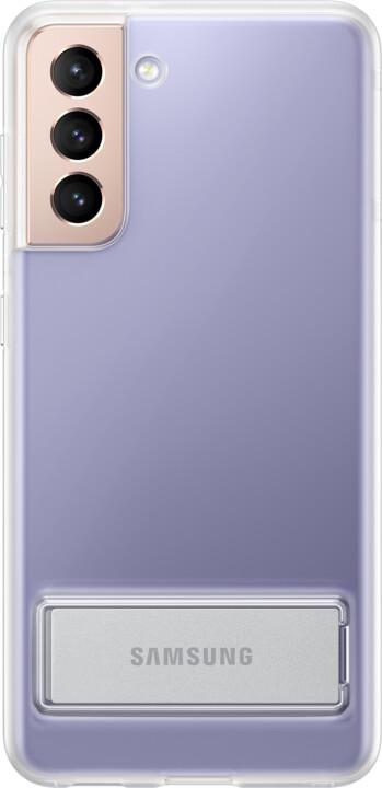 Samsung ochranný kryt Clear Standing pro Samsung Galaxy S21, se stojánkem, transparentní