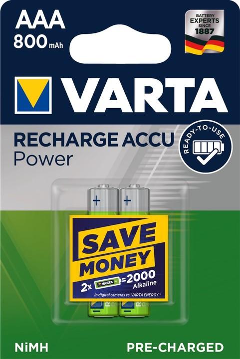 VARTA nabíjecí baterie Power AAA 800 mAh, 2ks