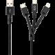 EPICO kabel 3v1, opletený, 1.2m, černá