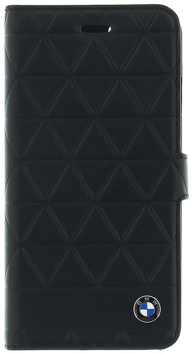 BMW Hexagon kožené pouzdro typu kniha pro iPhone 7/8, černé