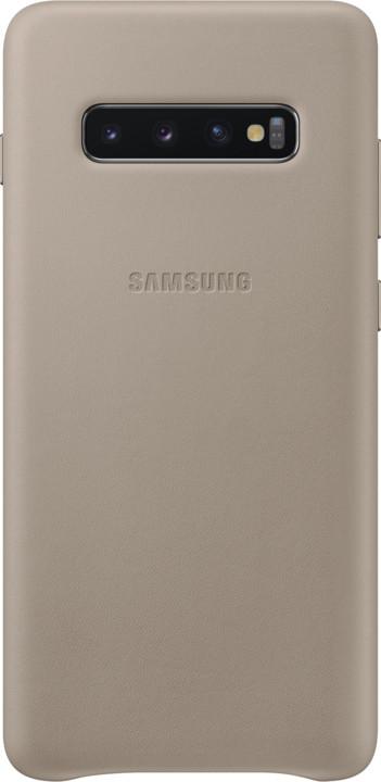 Samsung kožený zadní kryt pro Samsung G975 Galaxy S10+, šedá