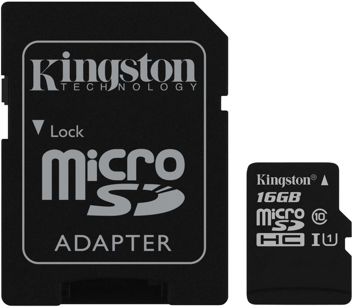 Kingston Micro SDHC Canvas Select 16GB 80MB/s UHS-I + SD adaptér