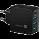 CONNECT IT Fast Charge nabíjecí adaptér 3xUSB-A + 1xUSB-C, 4,8A, černá