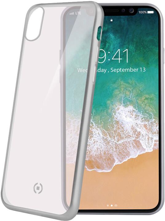 CELLY Laser TPU pouzdro - lemování s matným kovovým efektem pro iPhone X, stříbrné
