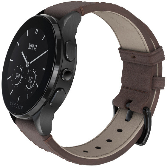 Vector SmartWatch Luna-Brushed Black/Dark Brown Leather