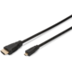 Digitus kabel HDMI-D - HDMI, M/M, pozlacené konektory, 1m, černá