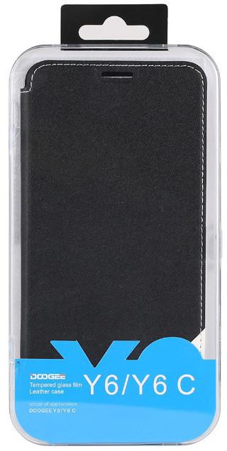 DooGee Y6/Y6C Flip Case + Screen Protector Glass, černá