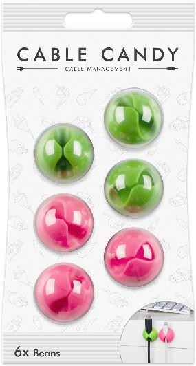Cable Candy kabelový organizér Beans, 6 ks, zelená a růžová
