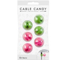 Cable Candy kabelový organizér Beans, 6 ks, zelená a růžová - CC019