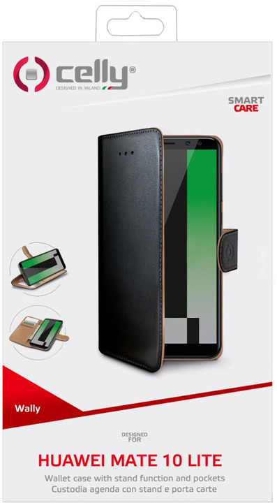 CELLY Wally pouzdro typu kniha pro Huawei Mate 10 Lite, PU kůže, černé
