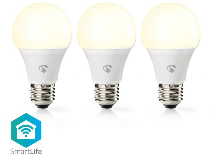 Nedis Wi-Fi chytrá LED žárovka, 3 ks v balení, teplá bílá, E27, .800 lm, 9W, A+,