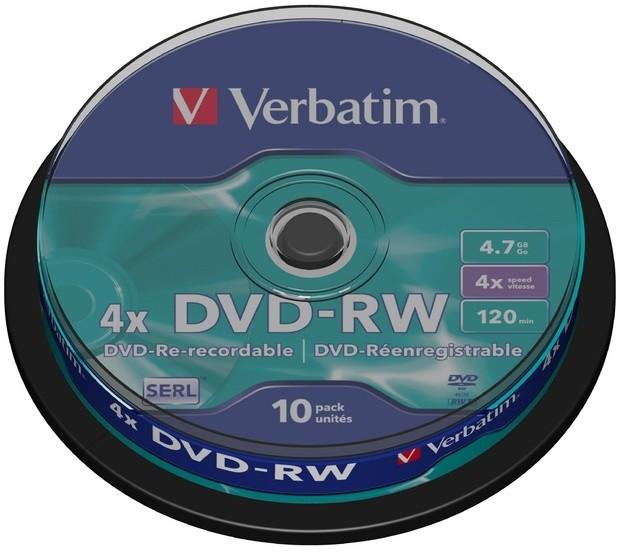 Verbatim DVD-RW 4x 4,7GB spindl 10ks