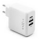 FIXED síťová nabíječka, USB-C, 2xUSB, PD, 45W, bílá