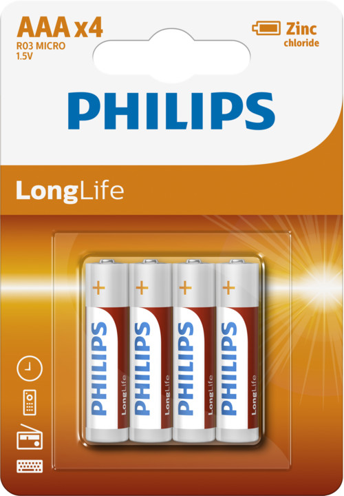 Philips baterie AAA LongLife zinkochloridová - 4ks, blister