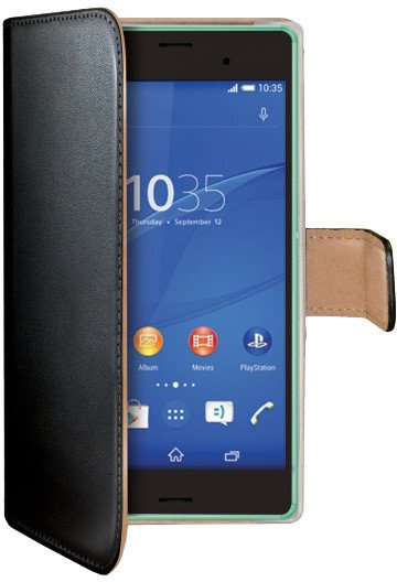 CELLY Wally pouzdro pro Sony Xperia Z3 Compact, PU kůže, černá