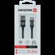 SWISSTEN datový kabel USB - USB-C, M/M, 3A, opletený, 0.2m, černá