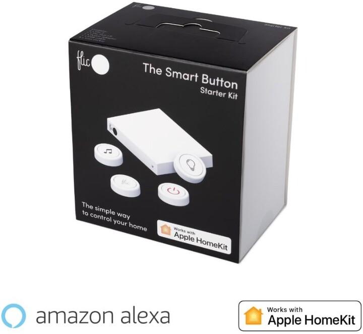 Flic 2 Starter Kit -4x chytré Bluetooth tlačítko, Hub LR, síťový adaptér, nálepky
