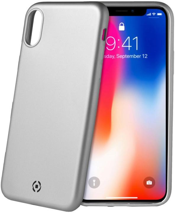 CELLY Sotmatt TPU pouzdro pro Apple iPhone X, matné provedení, stříbrné